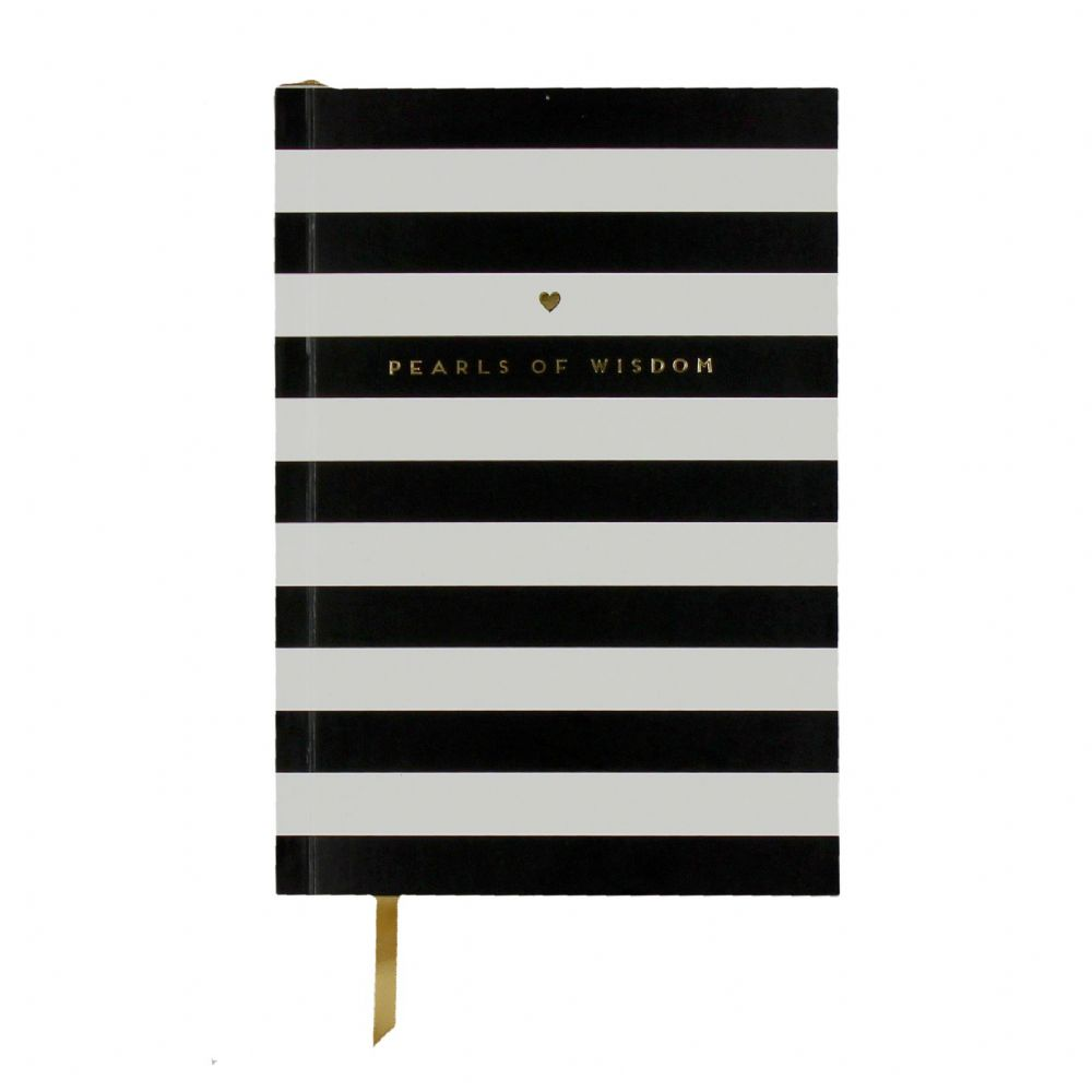 A5 Pretty Posh Black and White Stripe Notebook - Posh Office Study Student Stationery